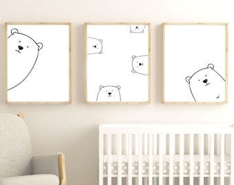 Peek A Boo Bear Nursery Print Set, Bear Print set, Teddy Bear Print, Digital Download, Animal Nursery Print, Black White Nursery #104-2-3