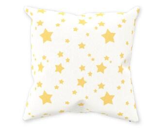 "Nursery Decor Pillow 14x14""-Nursery Accessories Neutral-Baby Shower Gift-Nursery Pillow-Nursery Decor-Nursery Accessories-Yellow Grey-stars"