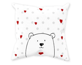 Nursery Pillow Bear-Peek A Boo Teddy Throw Pillow-Woodland Animal Nursery-Teddy Bear-Baby Shower Gift-Nursery Pillow-Nursery Accessory Gift