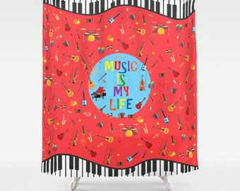 Musical Shower Curtain Music Lover Gifts Piano Colourful Pattern Electric Guitars Cool Etsy Modern Bathroom