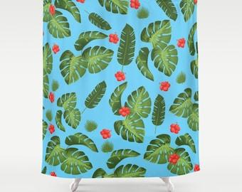 Tropical Leaves Shower Curtain Cool Monstera Plants Mid Century Modern Decor Blue Colourful Bathroom