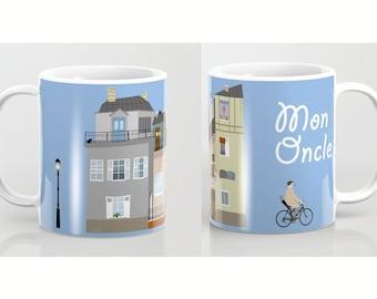 Jacques Tati mug-Mon Oncle Mug-Hulot mug-French cinema lover mug-Bicycle mug-Cool Mug-Coffee lover gift-Etsy gift-Colourful mug-Coffee mug