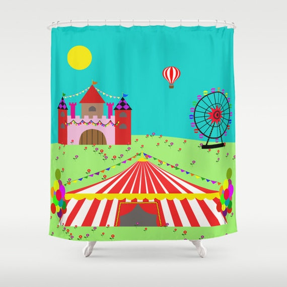 Circus Shower Curtain Ferris Wheel Castle Kids