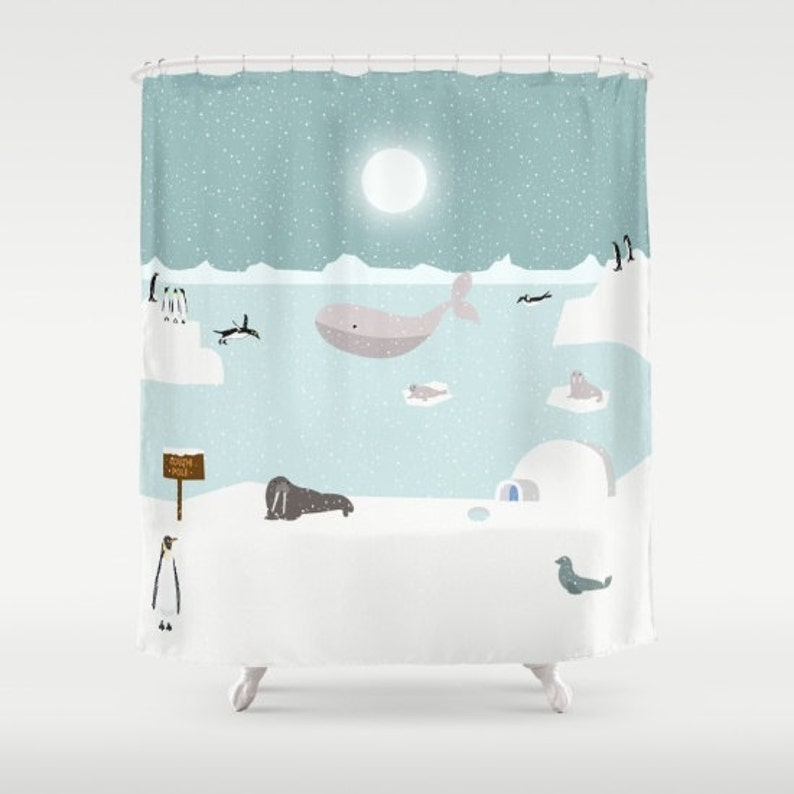 Penguins Shower Curtain North Pole Antarctica Arctic Polar