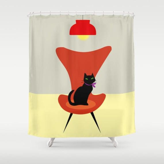 Black cat shower curtain-Mid century curtain-Cat lover curtain-Etsy gift-modern bathroom curtain-Designer Bathroom decor-Colourful bath