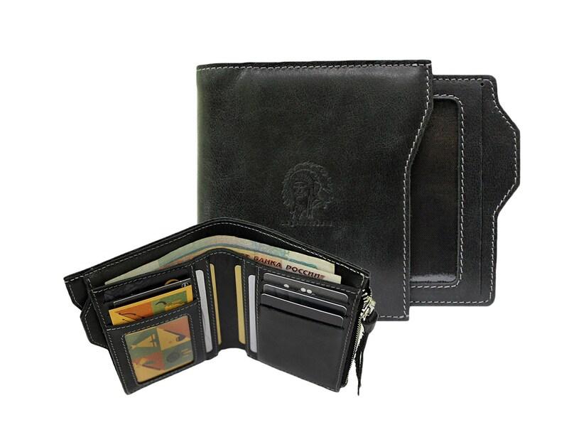 1935d949ea6db PUERTO neblig schwarz Geldbörse schwarzes echt-Leder Geldbörse