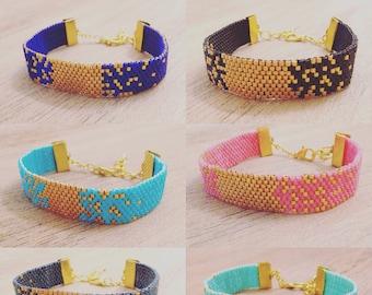 Handmade BRACELET MIYUKI Beads, Galaxy Bracelets, Beautiful Christmas Gift, BOHO Jewelry, Glam Miyuki Bracelet, Golden Bracelets Handmade