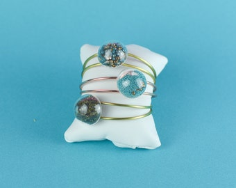 TERRARIUM BRACELET Stardust, Globes shaped GLASS bubble Bangles, clear Glass Globes Bracelets, Copper Bracelet, Blue and Golden crystals