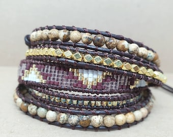 WRAP BRACELET BOHEMIAN with mineral and Miyuki Beads, Bracelet Madagascar, Natural Beads and Glass Beads, 4 or 5 wraps, Handmade Jewelry