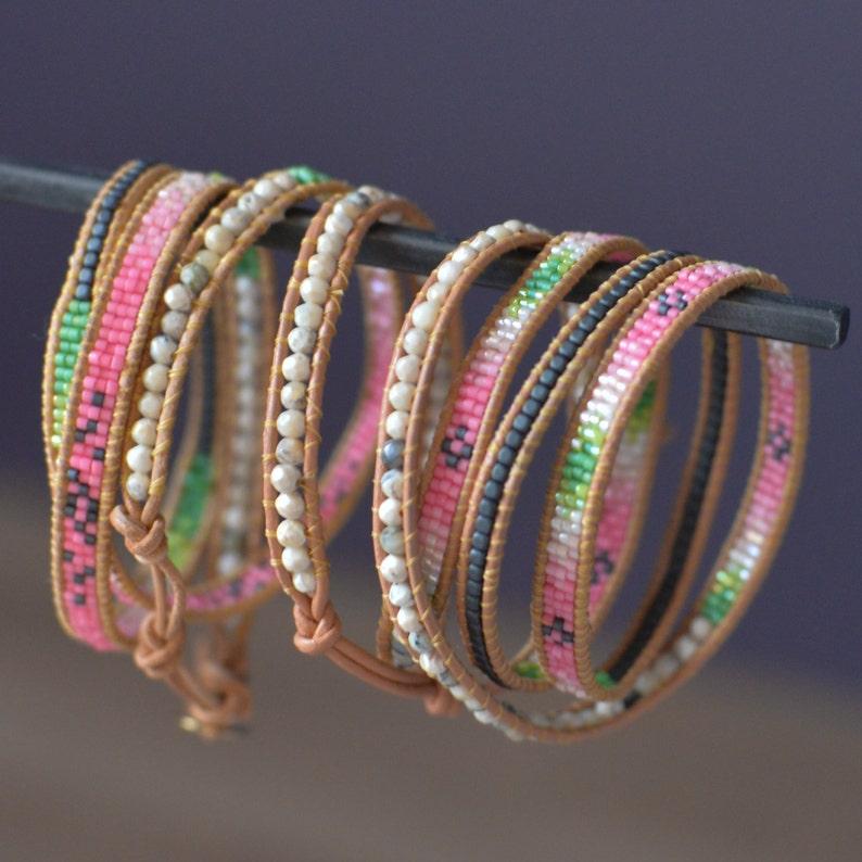 Handmade WRAP BRACELET with Hematites OPALS and Miyuki Beads image 0