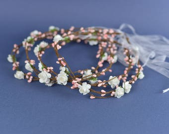 Handmade Hair FLOWERS CROWN, wreaths pastoral hair bands with leafs and berries, for babyshower, baptism or WEDDING, Pink or blue