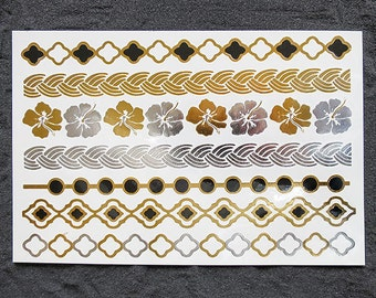 Flowers Gold FLASH Metallic Tattoos, Wavy and Luxe Bracelets in Gold Tattoos, Fake Tattoos lasting up to 6 days