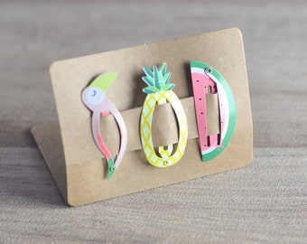 6 tropical clips for HAIRSTYLE, FRUIT and BIRD, for baby or girl, toucan, watermelon and pineapple patterns, metal clips,