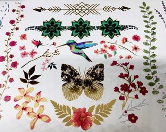 Gold Metallic FLOWERS and BIRD TATTOOS, Humming-bird Temporary Tattoo, Roses and Butterfly Tattoos, Dandelion Tattoos