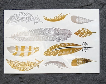 20% off Special Easter ! FEATHER Gold & Silver FLASH Metallic Tattoos, Birds Temporary Tattoo, Body Jewels weddings or beach parties
