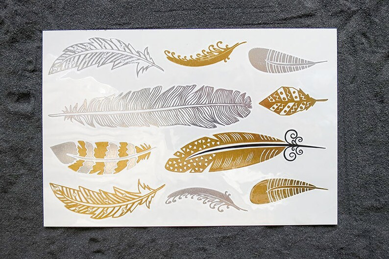 20% off Special Easter  FEATHER Gold & Silver FLASH Metallic image 0