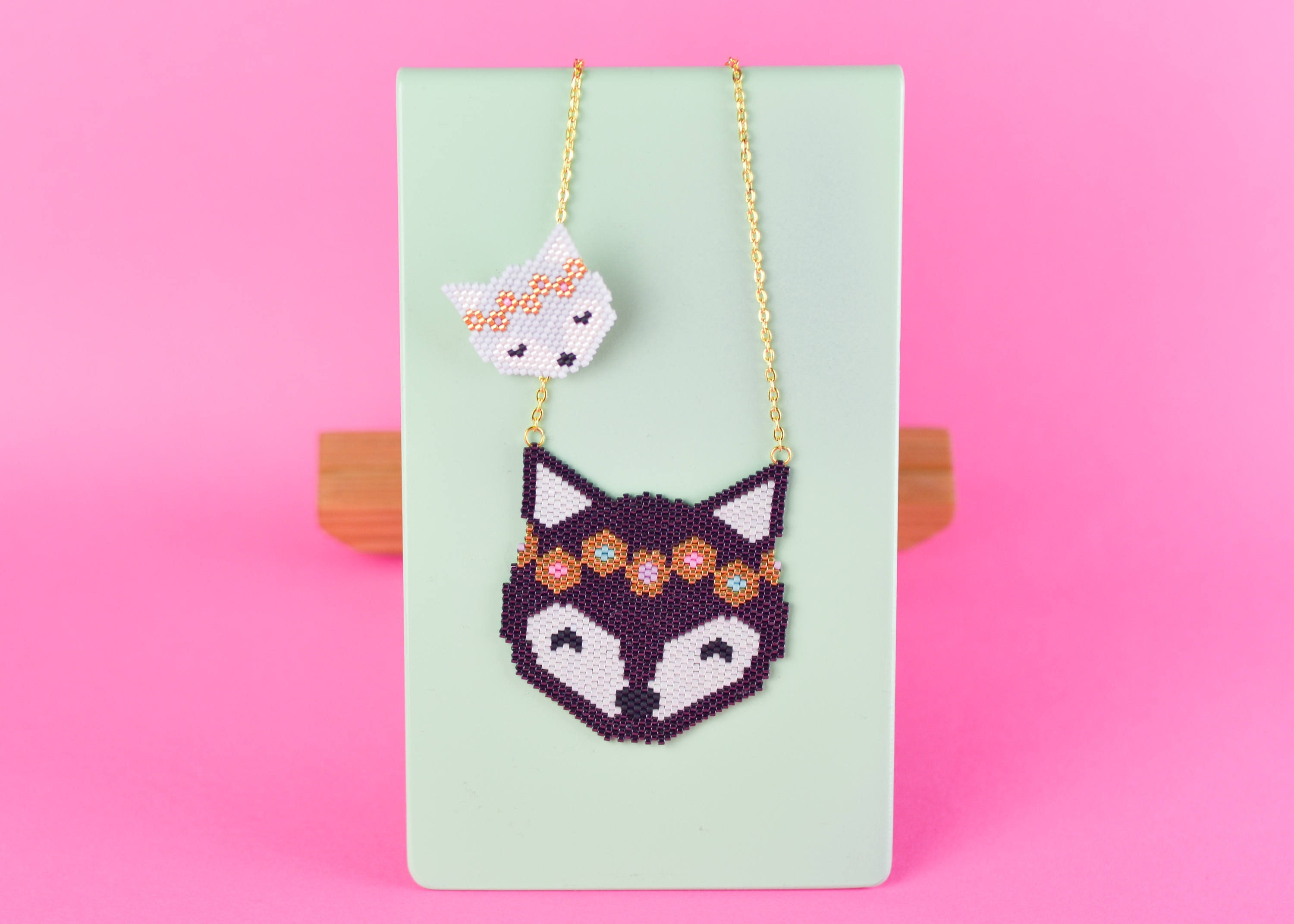 WOLF NECKLACE and BROOCH Birth Gift Baby Shower Gift