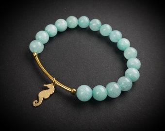 YOGA BRACELET, GEMS with Golden Animal, handmade bracelet, customizable size or gems, personalized lucky charm : frog, fish, snail, seahorse