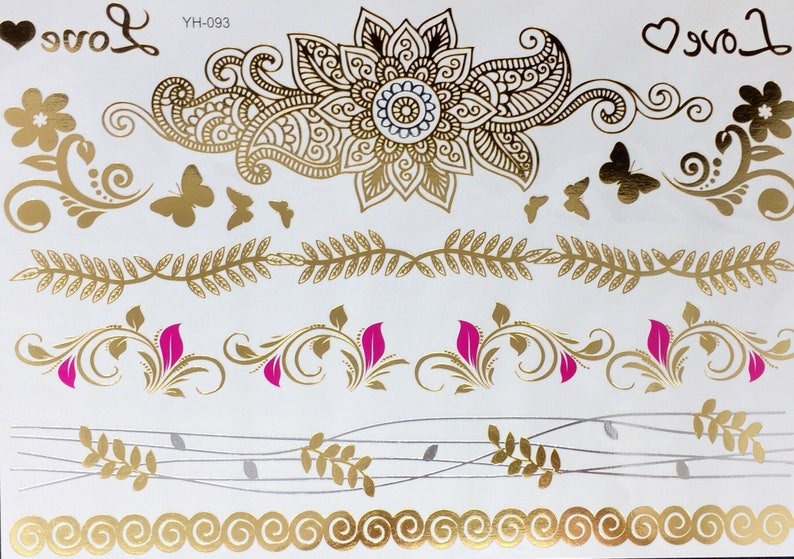 METALLIC TATTOOS FLOWERS and Butterfly Temporary Tattoos image 0