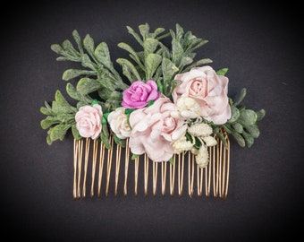 Spring HAIR comb leafs and FLOWERS, Handmade Hair Comb VINTAGE pastoral Style for wedding, baptism, babyshower, party, Boho Hair Accessories