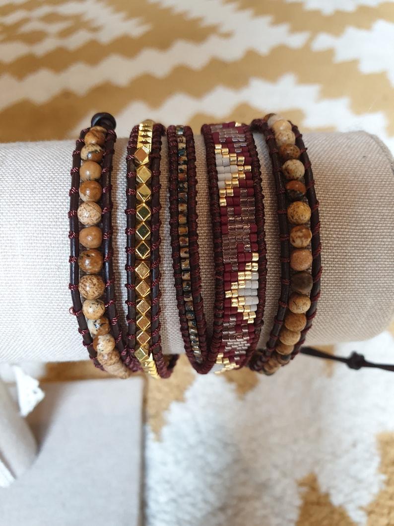 WRAP BRACELET BOHEMIAN with mineral and Miyuki Beads Bracelet image 0