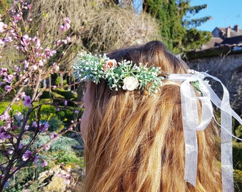 Handmade Hair FLOWERS CROWN, SPRING wreaths pastoral hair bands with leafs and flowers for springbreak, party, babyshower or Wedding