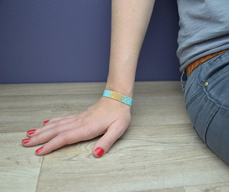 BRACELET MIYUKI Beads Handmade BLUE and Gold Galaxy Bracelet image 0