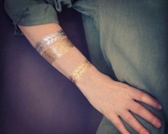 5 Larges Bracelets GOLD Tattoos, Metallic Tattoos, Temporary Fake Tattoos, Frieze of Laurel Tattoos