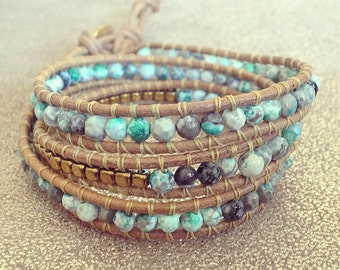 "BRACELET HEMATITES WRAP ""Amazonia"", Natural Gemstone Beads, Golden Hematites Green Agates, Gems beads, Handmade Jewelry for springbreak"