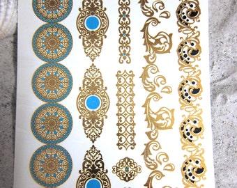 METALLIC TATTOOS, SUMMER Special 20% Off - 2 sheets Ephemeral tattoos, Bracelets Gold Tattoos, Temporary Tattoos, Oriental Modern Tattoos