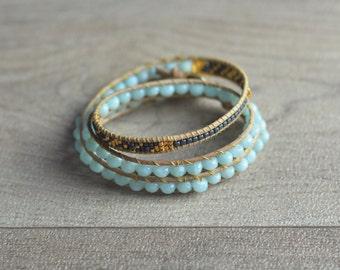 "WRAP BRACELET GEMS and Miyuki Beads ""Iceland"", Natural Beads Black Hematites and Blue Amazonites, Miyuki and Mineral Beads, Handmade Jewelry"