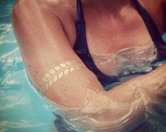 Gold Metallic FLASH Bracelets Tattoos, SPRINGBREAK tattoos, FLASH temporary Tattoos, Floral Gold Tattoos, Antic Gold Temporary Tattoos