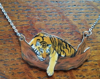 Tiger necklace, tiger jewelry, tiger gift, tigers, animal jewelry, animal charm, animal necklace, wildlife jewelry,shrink plastic, handdrawn