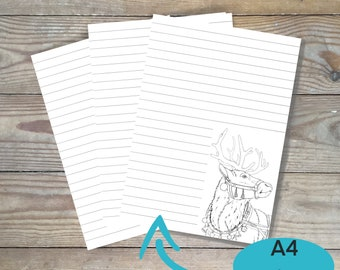Printable christmas stationery paper, Reindeer stationery paper, print at home, DIY coloring page, color your own stationery