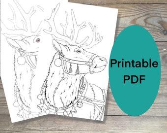 Printable christmas Coloring page, Reindeer coloring page, print at home, DIY coloring page, Christmas printable coloring page