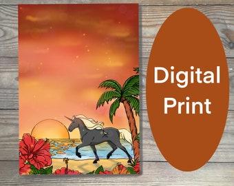 Digital art print, unicorn print, unicorn art, tropical beach print, warm colors printable art