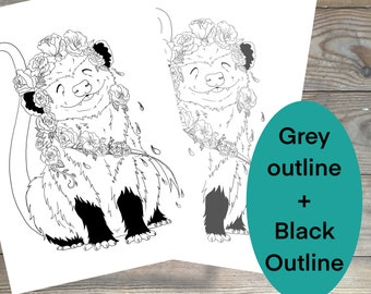 Opossum coloring page, black outline and grayscale coloring image, lots of detail, adult coloring page, perfect for opossum lovers