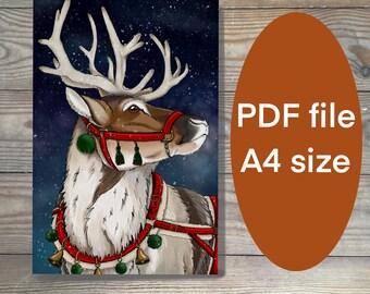 Digital art print, Reindeer print, reindeer art, christmas print, printable art, reindeer art, holidays printable PDF