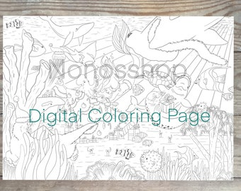 Printable Christmas coloring page, Christmas in the ocean, greyscale and black, adult coloring, Christmas print, winter coloring page
