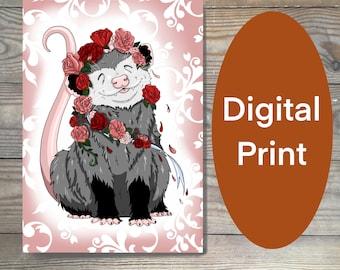 Digital art print, Opossum print, opossum art, floral print, printable art,possum gift, happy animal printable PDF