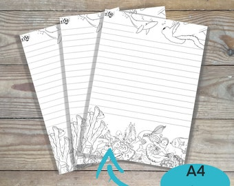 Printable christmas stationery paper, Ocean stationery paper, print at home, DIY coloring page, color your own stationery