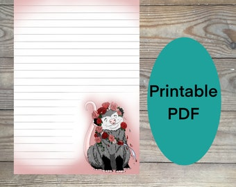 Opossum stationery paper, floral stationery, happy animal stationery paper, digital stationery, printable stationery