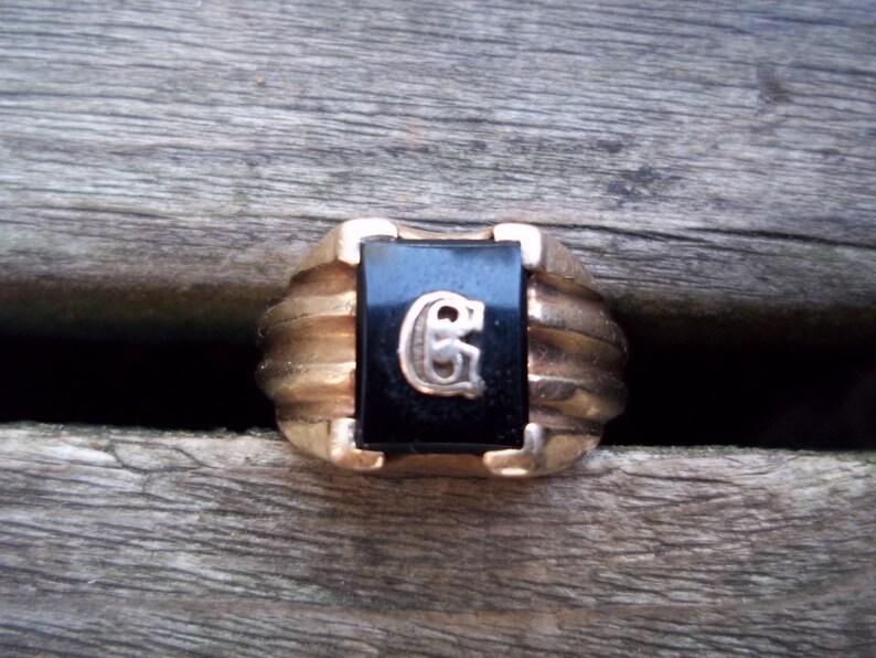 10k Black Onyx Signet Ring Initial G  Size 8 Vintage Circa 1930/'s Fall Fashion