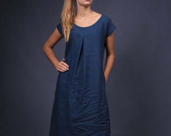 Linen dress. Simple Casual linen clothing / Flax dress / Linen tunic / linen top / loose linen dress with decoration