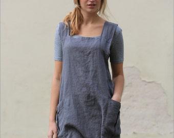 Linen apron / linen apron dress / linen work dress / linen tunic / cross back apron / linen top / linen coverup / linen tunic dress