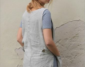 Linen apron, Linen Smock dress, Linen Apron dress, Dress with pockets, Linen tunic, Full apron dress, Smock Apron