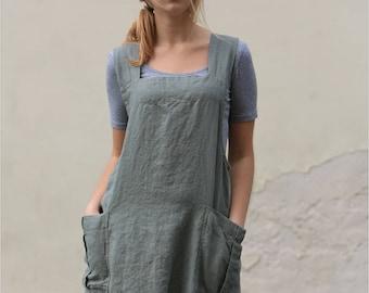 Linen pinafore apron / Square cross linen apron / Japanese apron / Long linen apron / Linen tunic / Linen apron