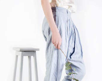 LINEN pants / Linen harem pants / Women trousers / Yoga pants / Leisure trousers / Linen harem shorts