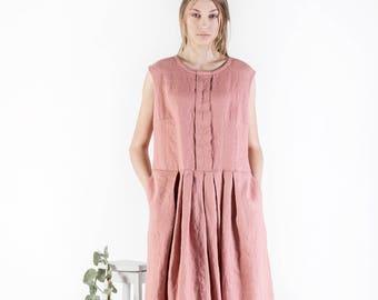 Linen dress, Women's sundress, Pure linen dress, Summer dress, Linen clothing, Dress with Pockets, Washed linen dress, Linen top