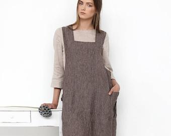 Linen cross back apron / Linen pinafore / Japanese style Apron / Large apron / Natural linen apron / Linen apron dress / Linen tunic
